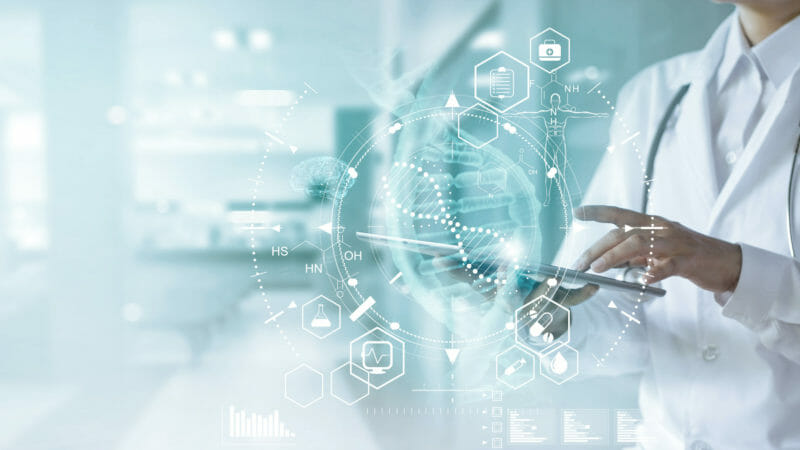Medical doctor touching electronic medical record on tablet. DNA. Digital healthcare and network connection on hologram modern virtual screen interface, medical technology and futuristic concept.